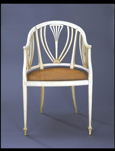 Solid ivory chair made in India 1790-1810.  This chair is of a type made in small numbers in Murshidabad, the nawabi capital of Bengal, where in the second half of the 18th century craftsmen who had traditionally produced courtly articles out of ivory such as combs and fly whisks began to make western-style furniture. This piece is of solid ivory, and was originally richly decorated with gilding that has now largely rubbed off. Its shape follows contemporary European tub chairs.