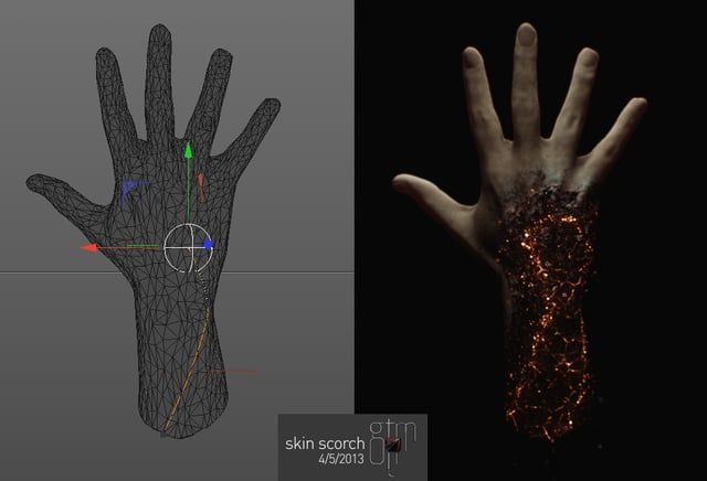 Cinema4D R&D build. Using the Proximal Shader and Blackstar's Paint Shader (fake wetmap) to create skin scorching effect on 3D scanned hand.  Used in Look Development and initial pitch for feature film The Lazarus Effect  more samples from this project @ http://alchem.tv/#/thelazaruseffect/ & http://gtmvfx.com