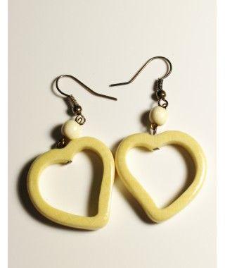 Небольшие белые сережки в форме сердца вср449