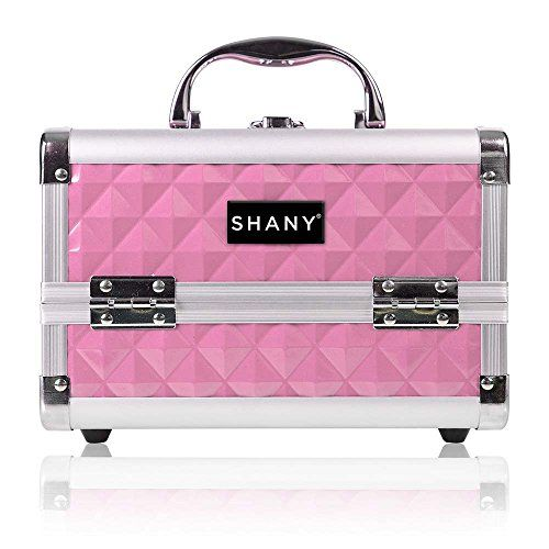 SHANY Mini Makeup Train Case With Mirror - Polite PINK. For product & price info go to:  https://beautyworld.today/products/shany-mini-makeup-train-case-with-mirror-polite-pink/