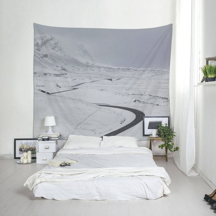 Wall Hangings, Winter Landscape, Winter Road, White Tapestry, Minimalist Tapestry, Iceland Photography, Tapestry For Guys, Cool Wall Art by Macrografiks on Etsy