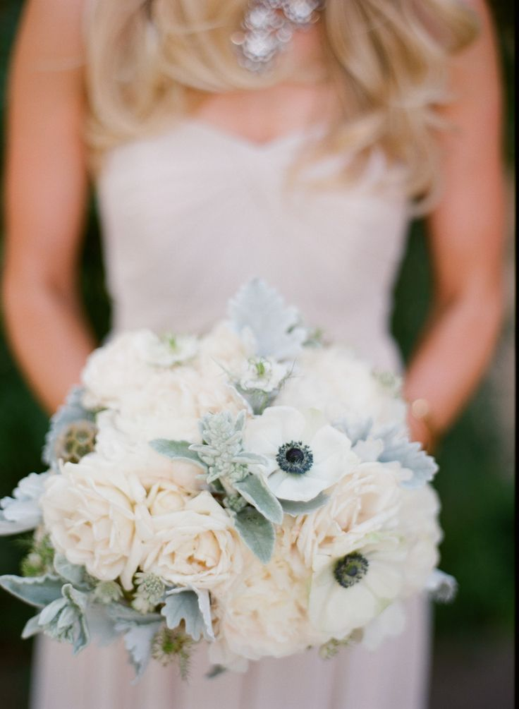 The bridesmaids' bouquets in this wedding are gorgeous! Michael + Anna Costa Photography | See more on #SMP Weddings: http://www.stylemepretty.com/2013/12/17/ojai-wedding-at-red-tail-ranch/ |  Camellia Floral Design