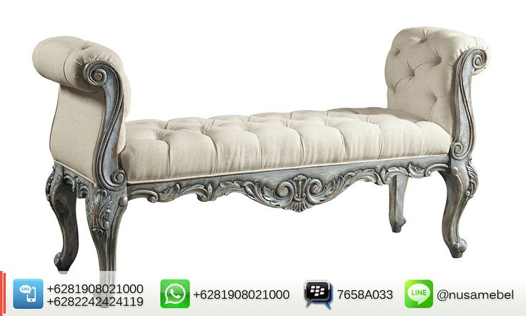 Antique Distressed Louis XV Bed End Bench Gatusso   Gatusso is an antique Louis XV bed-end bench that made from solid mahogany wood. It brings you the collaboration of a good quality wood distressed bluish finish and beautiful beige fabric for the bed-end's upholstery. Custom color combination is also available to suit your home's theme. The design of this mahogany bed-end adopts old French style that showed by its carving motif and curvy body. Gatusso has sturdy construction to ensure the…