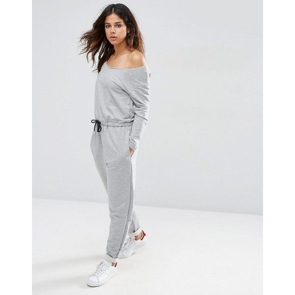 ASOS Jumpsuit with Off Shoulder in Sweat (76 AUD) ❤ liked on Polyvore featuring jumpsuits, grey, gray jumpsuit, off the shoulder jumpsuit, asos jumpsuit, grey jumpsuit and jump suit