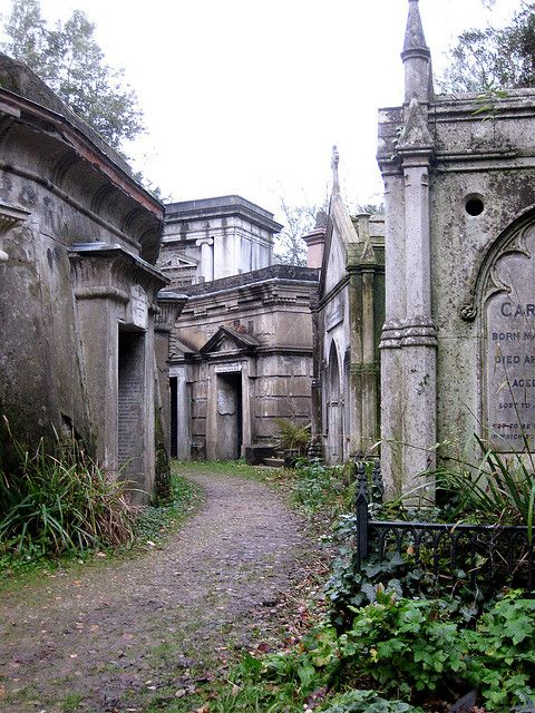 Highgate Cemetery, London. Katriona's father is probably buried in a place much like this.