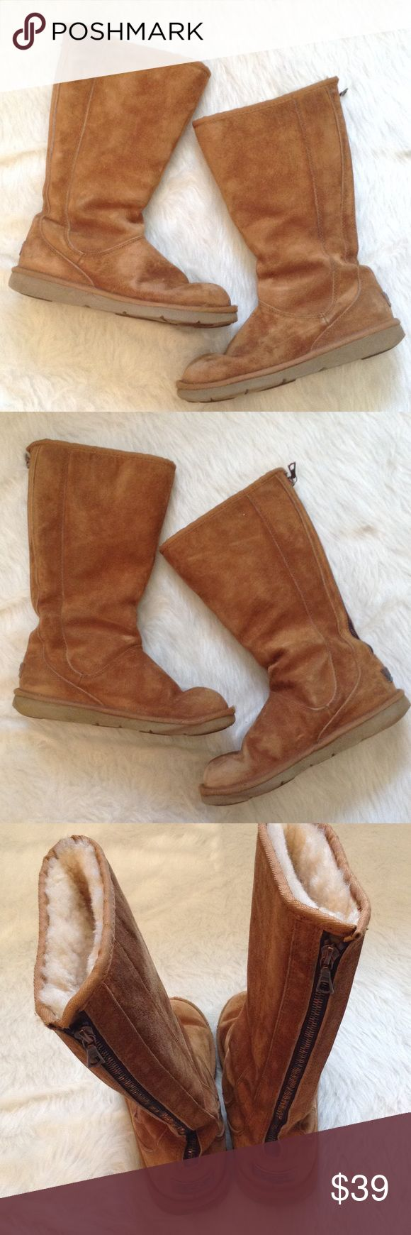 Ugg Australia women's boots size 8 brown Ugg authentic women's boots size 8. The boots are brown and zip up the back. The boots are in good used condition with some wear. See pictures for wear. UGG Shoes Winter & Rain Boots