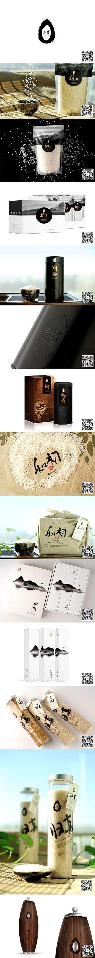 优品(米色)@七言设计采集到茶叶包装(七言)(12图)_花瓣平面设计. Beautiful rice packaging collection PD (no source link, sorry)