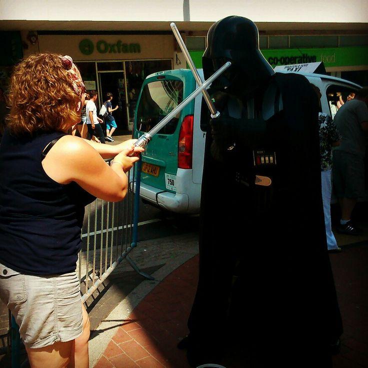 Darth vador. Brighton. Random.lightsaber fight.