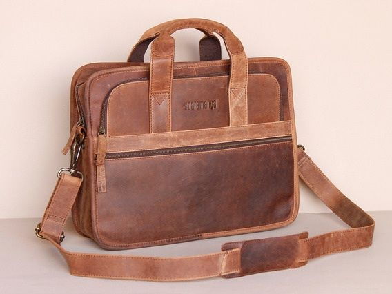 Scaramanga mens Citylander leather laptop briefcase