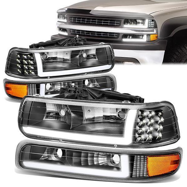 99 02 Chevy Silverado 00 06 Suburban Led Drl Headlights Bumper Lamp Black Housing Amber C Chevy Silverado Chevy Silverado 2500 Hd Chevy Silverado Accessories