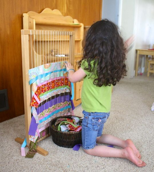 Weaving with Kids Using Ribbons and Fabric (Homemade Weaving Loom) - Buggy and Buddy