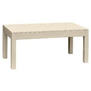 Premier Housewares Coffee Table Rectangle Shaped Leather Effect, 51 x 110 x 55 cm, Cream: Amazon.co.uk: Kitchen & Home