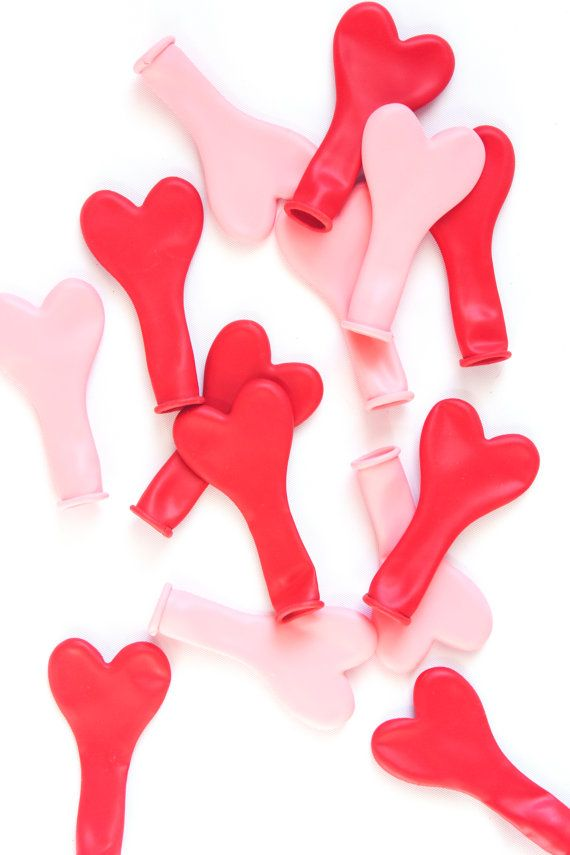 Mini Heart Balloons Latex Heart Balloons Red Pink by StudioPep