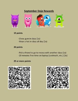 Full year's worth of 'Class Dojo' Rewards! Can be used with ANY QR code reading app. With this simple document all you have to do is print at the beginning of the month, display somewhere prominent in your classroom and hand out the Dojo points!!!