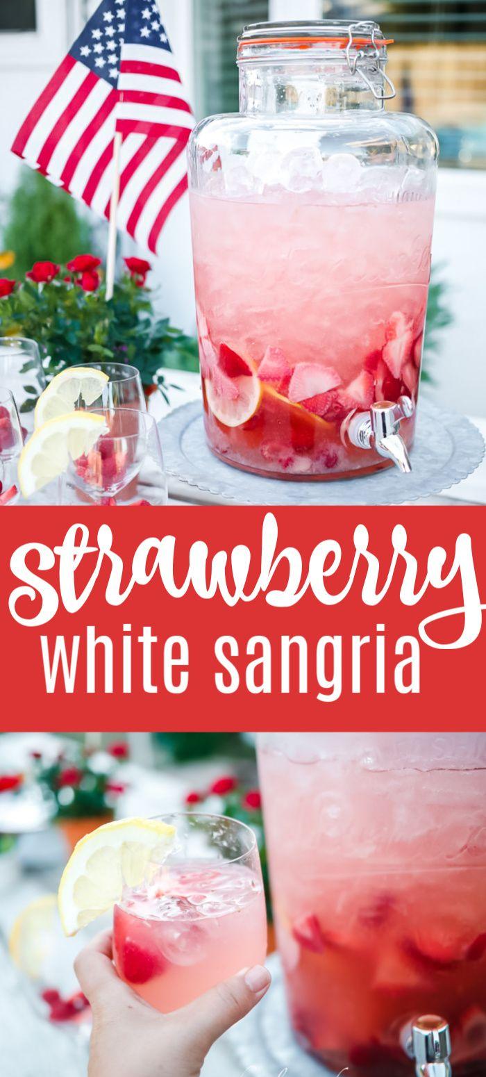 Strawberry Sangria In 2020 White Wine Sangria Recipe Strawberry Sangria Drinks Alcohol Recipes