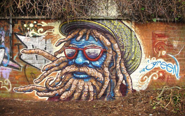 Graffiti by Uri Green in Barcelona, Spain #street art