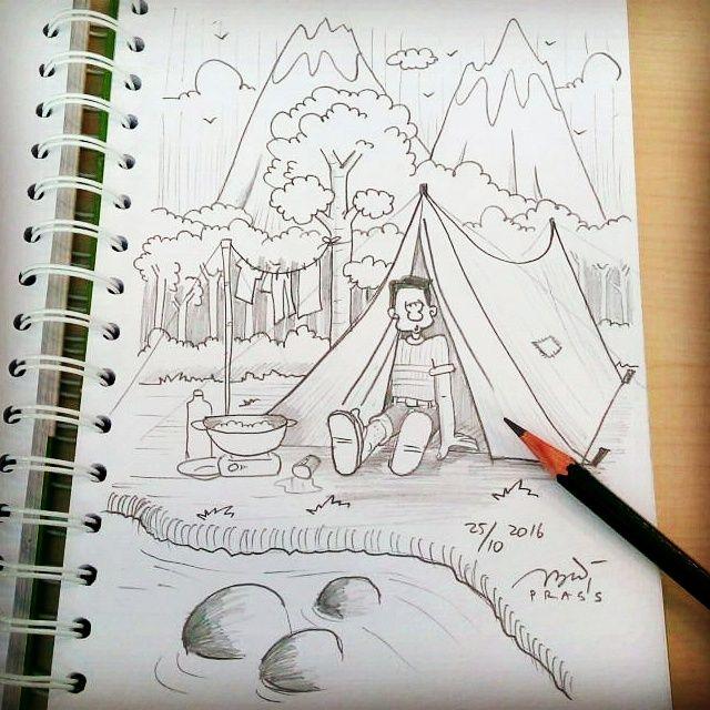 Tiba2 pengen #getlost kemana gitu.     #tenda #camping #tent #kemah #alam #hutan #iseng #sketch #pencil #sketsa #sketsapensil #karikatur #caricature #pencilsketch #menggambar #gambar #ilustrasi #ilustration #sketching #drawing #art #artwork #seni #senirupa #belajar #belajargambar #cartoon #practice #prasssketch