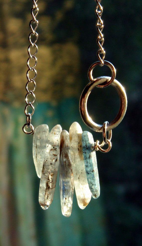 Kyanite Stick Necklace by BeadazzledBySharon on Etsy, $25.00