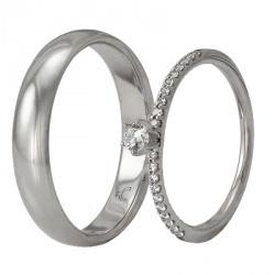 Обручальные кольца из белого золота с бриллиантами, артикул wr01-om16,wr01-1f16 - купить по лучшей цене, описание, характеристики, фотографии