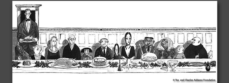 Charles Addams drawing.The Addams Family, Adam Families, Families Snap, Cartoonist 1912, The Addams Families, American Cartoonist, Families Meals, Charles Addams, Families Dinner