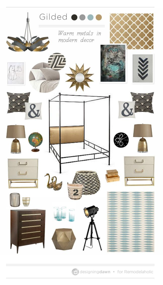 Remodelaholic   A Gilded Mood Board - Using Warm Metals in Modern Decor