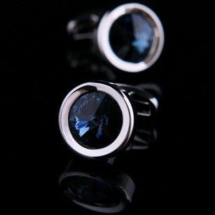 Blue Crystal Centered Cufflinks