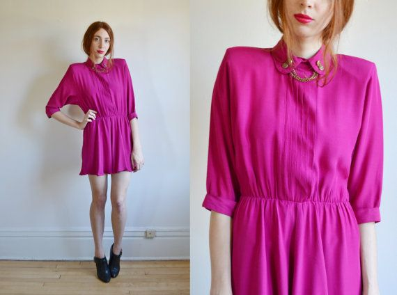 90s FUCHSIA military mini dress // preppy chic by BrownCowVintage, $58.00