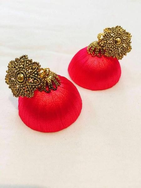 Red color antique attached Silk Thread Jhumka