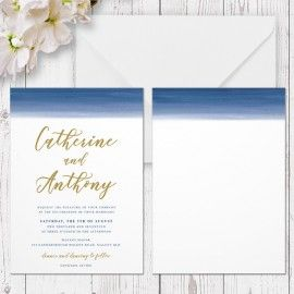 Blue Ombre Watercolour Wedding Invitation, Navy and Gold, Professionally Printed, Peach Perfect Australia
