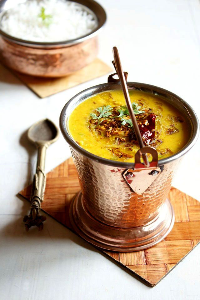 Dal tadka - delicious and creamy yellow lentils tempered with indian spices Healthy vegetarian soup, lunch