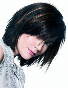 razor cut hair and subtle highlights.  Love it!