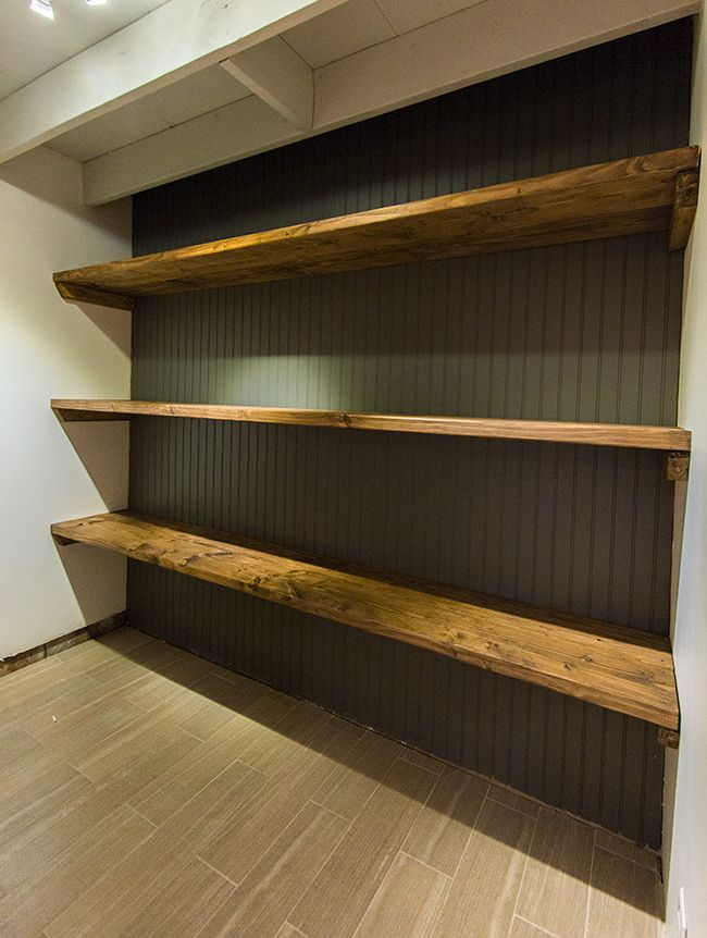 replace wire shelving in pantry...New Laundry Room: DIY Wood Storage Shelves