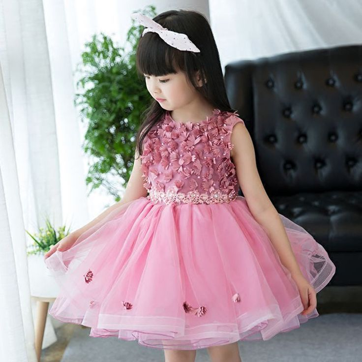 Scattered Blush Pink Flowers Kids Party Dress | Baby ...