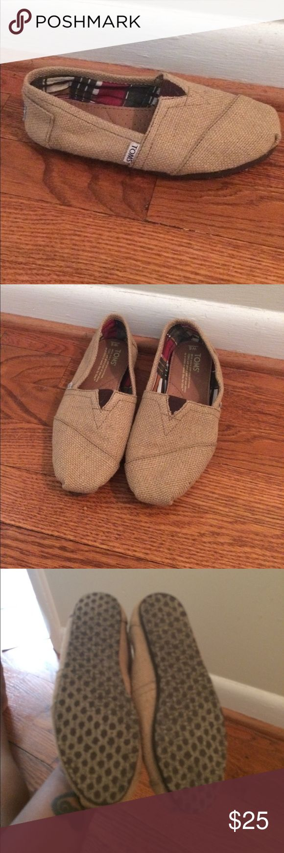 Tan Burlap Toms Tan Burlap Toms. Worn once, run small. Toms Shoes Flats & Loafers