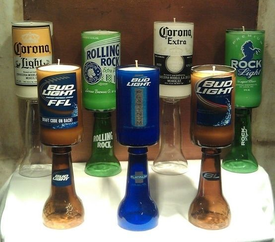 beer bottle candles. First, tacky. Second, cutting glass bottles perfectly is not as easy as it seems, and third, it leaves jagged edges leaving weapons and sharp glass around for injuries.