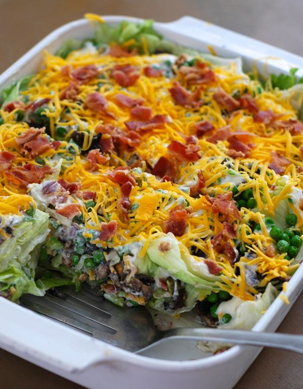 Cake Pan Salad - Much better way to make a layered salad - you get some of everything this way!