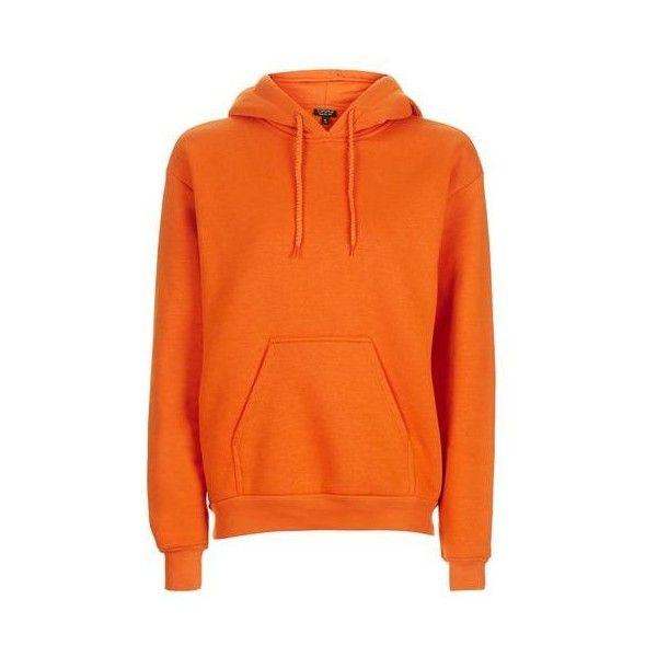 TopShop Basic Oversized Hoodie ($35) ❤ liked on Polyvore featuring tops, hoodies, orange, hoodie top, layered tops, oversized tops, oversized hoodies and double layer top