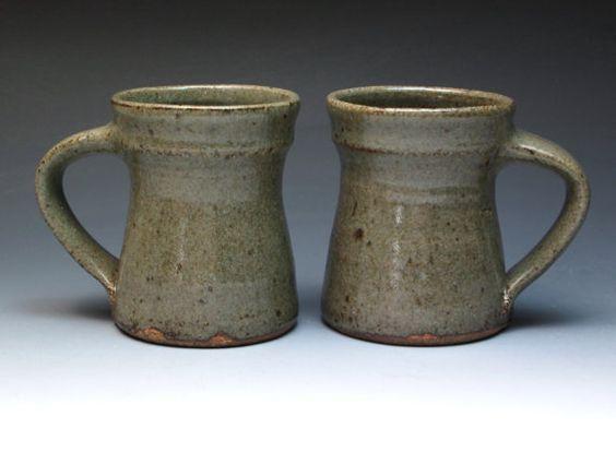 Jeff Oestreich 1970's Transitional Stoneware Mugs by MugsMostly