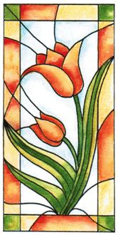 INR-050-5 Tulip Stained Glass Cling Stamp