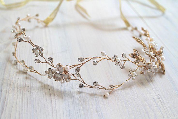 Haarschmuck & Kopfputz - Braut Haarschmuck Hochzeit Haarkranz Gold - ein Designerstück von DecorUA bei DaWanda