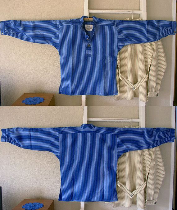 Norwegian Work Shirt - Busserull - Blue & White Stripes with Pewter Buttons
