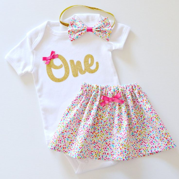 1st Birthday Outfit and Cake Smash Set | Rainbow Confetti Sprinkles & Gold Glitter with Bow Headband