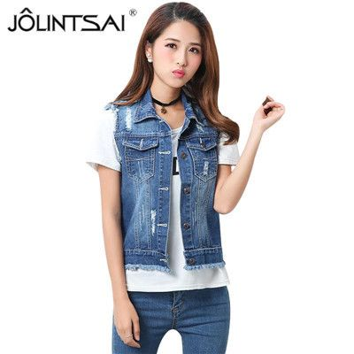 S-5XL High Qualtiy Fashion Hole Womens Denim Vests 2017 Autumn Sleeveless Ripped Buttons Tassel Casual Jeans Vest Tops Plus Size
