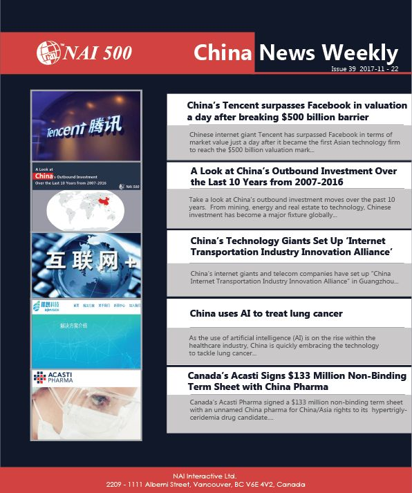 #ChinaNews Weekly 39 – #China's #Tencent surpasses #Facebook in valuation a day after breaking $500 billion barrier #technology #AI