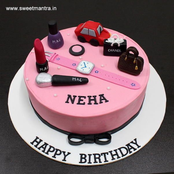 Makeup Shopping theme customized designer fondant birthday cake for wife by Sweet Mantra - Customized 3D cakes Designer Wedding/Engagement cakes in Pune - http://cakesdecor.com/cakes/273528-makeup-shopping-theme-customized-designer-fondant-birthday-cake-for-wife