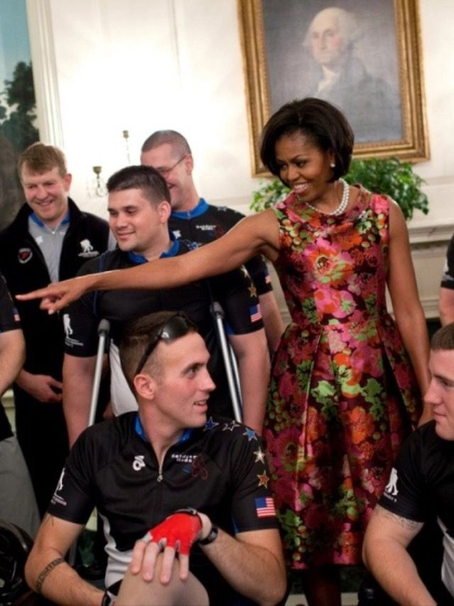 #FirstLady #FLOTUS Of The United States Of America #MichelleObama jokes with participants in the Wounded Warrior Soldier Ride in the Diplomatic Reception Room of the White House, April 28, 2010