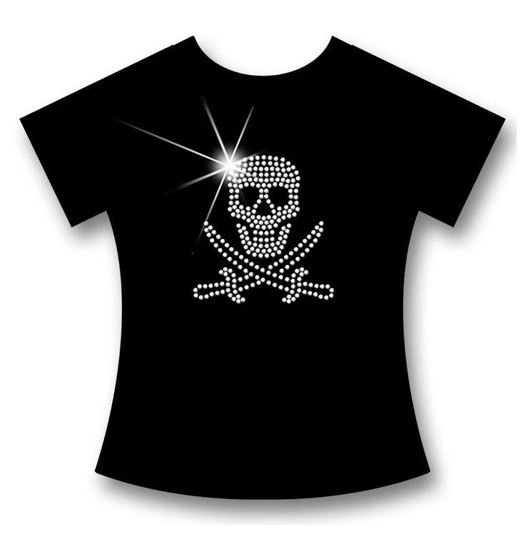 SEXY+INDIVIDUELLES STRASS PIRAT/SKULL V-AUSSCHNITT LADIES PREMIUM LONG T-SHIRT!