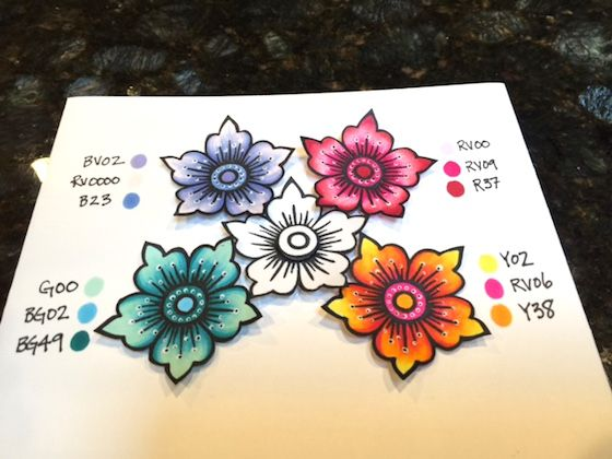 copic markers, the Daily Marker, Hennah elements: Altenew flowers