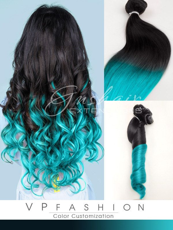 Light Turquoise Ombre Human Hair Extensions Black To Blue