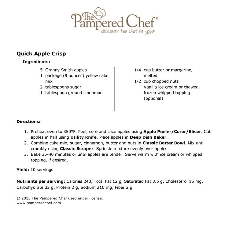 Pampered Chef apple crisp